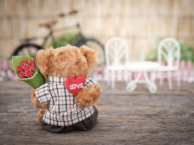 Bear Holding Roses